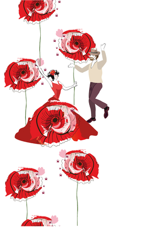 Border from red poppies and dancing people. Hand drawn vector illustration.