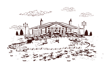 Series of park landscapes views with threes in lines. House near the swan lake. Hand drawn illustration.
