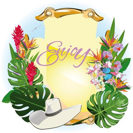 Fond d'été avec des feuilles et des fleurs tropicales. Conception d'illustration vectorielle. Banque d'images - 81873604