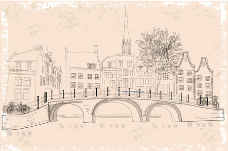 pensil: The architectural background with dutch houses in Holland, Netherlands. Illustration