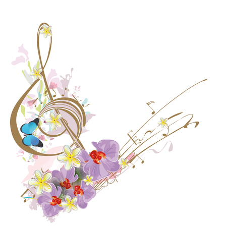 butterfly background: Abstract treble clef decorated with tropical leaves and flowers. Illustration