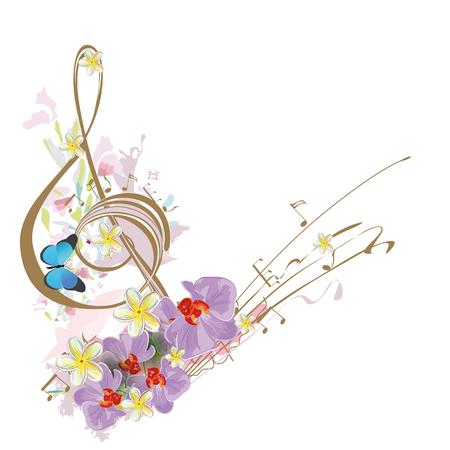Abstracte treble sleutel versierd met tropische bladeren en bloemen.