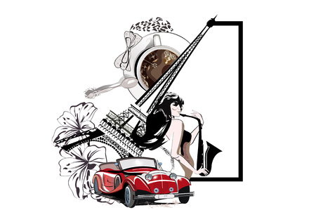 Coffee cup with a spoon and the Eiffel tower. Musician girl and a retro car. Hand drawn vector.