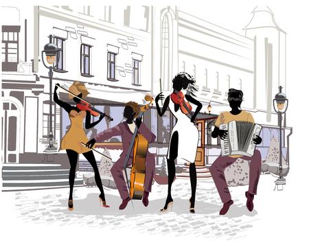오래 된 도시에서 음악가 및 춤 커플 함께 거리의 시리즈. 복고풍 건물 손으로 그린 벡터 일러스트 레이 션.