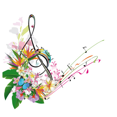 Abstract treble clef decorated with tropical leaves and flowers. Stock Illustratie