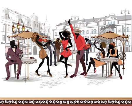 Series of the streets with musicians and dancing couples in the old city. Hand drawn vector illustration with retro buildings. Illusztráció