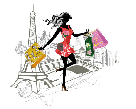 Fashion girl with long hair shopping around the world. Europe sights. Hand drawn illustration.