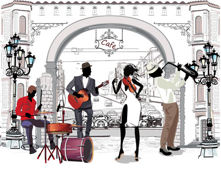 Street musicians in the city. Jazz band. Hand drawn vector illustration with retro buildings.