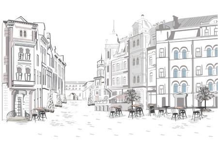 旧市街のストリート ビューのシリーズ。手には、歴史的建造物を背景に建築ベクトルが描かれました。