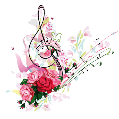 Abstract treble clef decorated with rose flowers and splashes. Hand drawn vector illustration. Illustration
