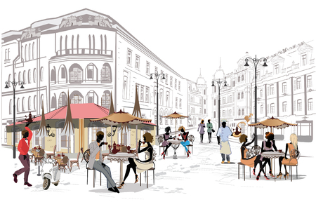 Fashion people in the street cafe. Street cafe with flowers in the old city. Hand drawn illustration. Vectores