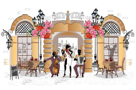 Street musicians in the city icon. Ilustração