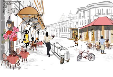 Seria ulicznych kawiarni z ikoną osób. Ilustracje wektorowe