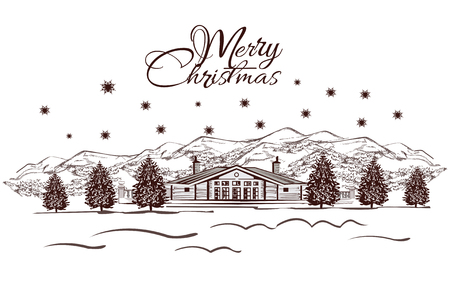 snowy hill: Merry Christmas greeting card.