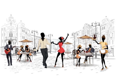 Street performers in old town illustration.