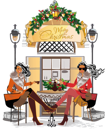 pareja comiendo: Diseño de la tarjeta de felicitación de Navidad.