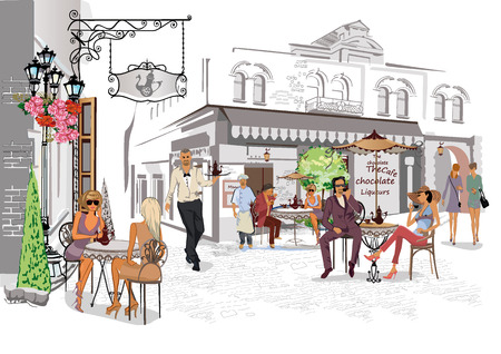 Street cafes with people card design.