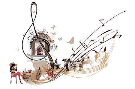 Kaffeemusik. Abstrakter Violinschlüssel verziert mit Musikern, Anmerkungen und Café Hand gezeichnete Vektorillustration. Vektorgrafik