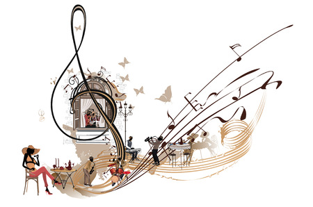 Musica de cafe Clave de sol abstracta decorada con músicos, notas y café. Ilustración de vector dibujado a mano. Ilustración de vector