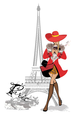 Fashion girl in red coat with a paper cup of coffee in Paris. The Eiffel Tower. Hand drawn vector illustration.