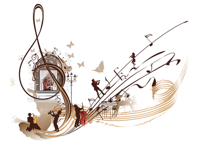 Coffee music. Abstract treble clef decorated with musicians, notes and cafe.Hand drawn vector illustration.