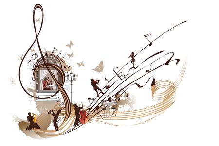 Koffie muziek. Abstracte g-sleutel die met musici, nota's en koffie wordt verfraaid. Hand getrokken vectorillustratie. Vector Illustratie