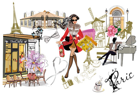 Set of Paris illustrations with fashion girls, cafes and musicians. Vector illustration. 版權商用圖片 - 91549352
