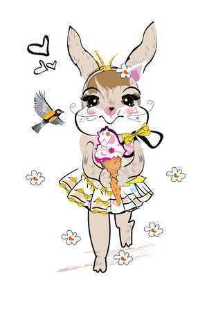 Fashion hare with an ice-cream and a bird, decorated with flowers hand drawn graphic, kid print Illustration