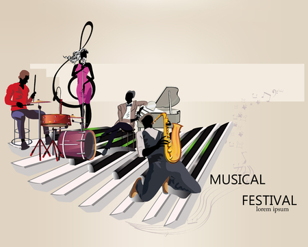 Series of musical backgrounds with musicians and dancers. Jazz poster. Hand drawn vector. Vettoriali