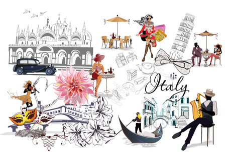 Set of Italy illustrations with fashion girls, cafes and musicians. Vector illustration. 版權商用圖片 - 92848203