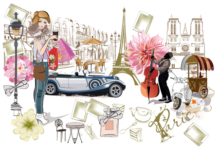Conjunto de ilustraciones parisinas con chicas de moda, cafés y músicos. Ilustracion vectorial Ilustración de vector