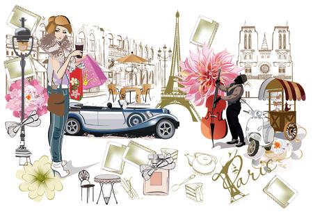 Set di illustrazioni di Parigi con ragazze della moda, caffè e musicisti. Illustrazione vettoriale Vettoriali