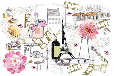 Ensemble d'illustrations de Paris avec des filles de la mode, des cafés et des musiciens. Illustration vectorielle