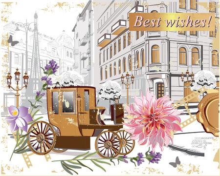 Reihe Weinlesehintergründe verziert mit Blumen, Retro- Autos und alten Stadtstraßenansichten. Handgezeichnete Vektor-Illustration.