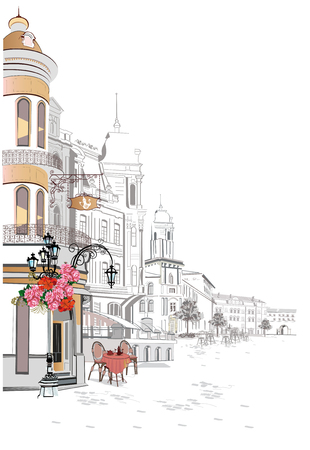 Series of backgrounds decorated with flowers, old town views and street cafes.    Hand drawn vector architectural background with historic buildings. Illustration