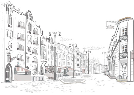 Series of street views in the old city. Hand drawn vector architectural background with historic buildings. 免版税图像 - 93833487