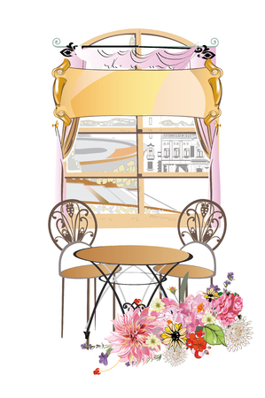 Window decorated with flowers and cafe table. Hand drawn vector illustration. Illustration