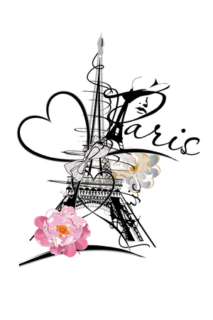 Design with the Eiffel tower, flowers and hearts.