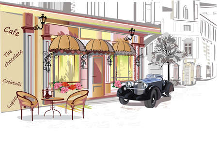 Series of street cafe views in the old city. Hand drawn vector architectural background with historic buildings.