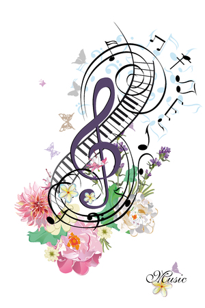 Abstract treble clef note with summer flowers. Vector illustration.