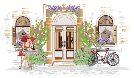 Series of backgrounds decorated with flowers, old town views and street cafes.    Hand drawn vector architectural background with historic buildings. Stock Illustratie
