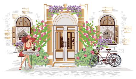 Serie de fondos decorados con flores, vistas al casco antiguo y cafés. Fondo arquitectónico de vector dibujado a mano con edificios históricos.