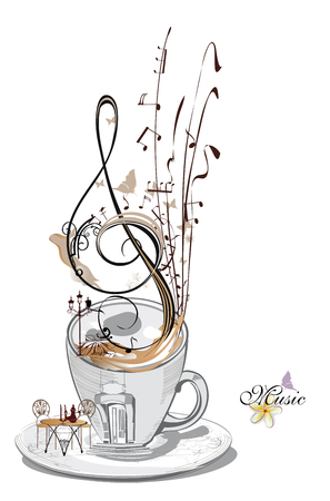 Abstract musical design with musical notes on a  coffee cup
