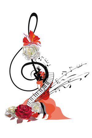 Abstract treble clef decorated with a salsa dancer and roses, notes. Hand drawn vector illustration.