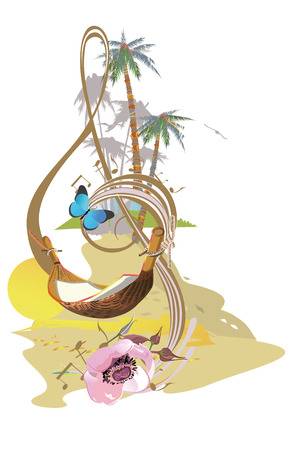 Abstract treble clef decorated with summer and spring flowers, palm leaves, notes. Hand drawn vector illustration.