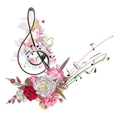 Abstract treble clef decorated with summer and spring flowers, notes. Hand drawn vector illustration. Archivio Fotografico - 100175051