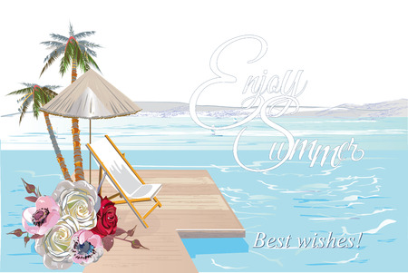 Series of relax summer backgrounds with sunlight and sea beach. Palms and roses flowers. Hand drawn illustration.