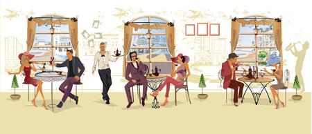 Eine Reihe von Menschen, die in einem romantischen Café Kaffee trinken, Jazzmusiker und Kellner bedienen die Tische. Handgezeichnete Illustrationen.