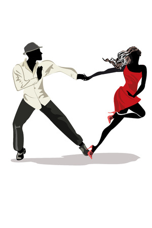 Pareja romántica en apasionados bailes latinoamericanos. Festival de salsa. Fondo de cartel dibujado a mano.