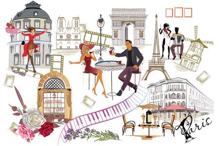 ファッションの女の子、カフェ、ミュージシャンとパリのイラストのセット。ベクターの図。